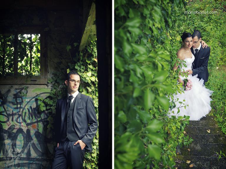 photo des mariés usine abandonnée par Marie Baillet photographe mariage Bretagne